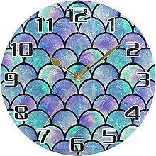 Sea Mermaid Scales Wall Clock Silent Non Ticking,