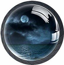 Sea Moon 4 Pieces Crystal Glass Wardrobe Handles