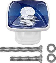 Sea Moon Pattern Kitchen Cabinet Knobs Drawer