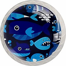 Sea Ocean Fish Cabinet Knobs Glass Knobs for