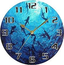 Sea Ocean Shark Fish Wall Clock Silent Non