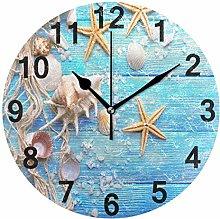 Sea Starfish Wood Art Wall Clock Quartz Analog