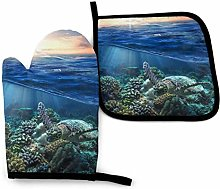 Sea Turtle Floating Up and Over Coral Oven Mitts