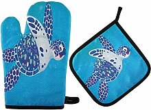Sea Turtle Oven Mitts and Pot Holders Sets Heat