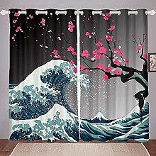 Sea Waves Curtains, Plum Blossom Floral