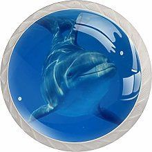 Seabed Dolphin White Crystal Drawer Handles