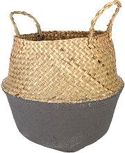 Seagrass Basket Tempered Black Gray Storage Holder