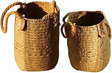 Seagrass Basket with Handles Foldable - Flower Pot