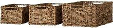 Seagrass Rattan 3 Piece Storage Basket Set House