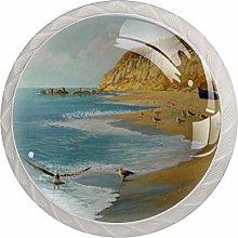 Seagull Illustration 4pcs Glass Cupboard Wardrobe
