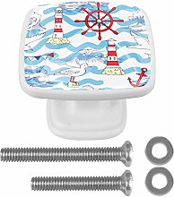 Seagull Lighthouse Wave 4PCS Drawer Knobs Square