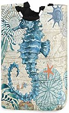 Seahorse Ancient Nautical Map Large Laundry Basket
