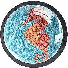 Seahorse Mosaic Background Cabinet Door Knobs