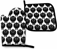 Seamless Black Sheep Oven Mitts and