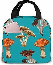 Seamless Mushroom Purple Jellyfish Lunch Bag