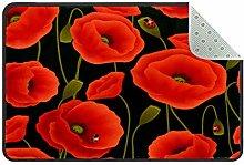 Seamless Poppy Doormat Rug Easy to Clean Non Slip