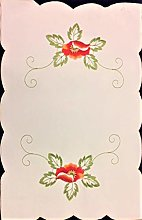 Seaquin Red Poppy Embroidered Table Runners, Place