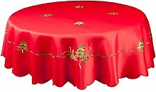 Seaquin Spruce Christmas Tablecloth in Red Or
