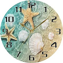 Seashell Starfish Beach Wall Clock Silent Non