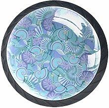 Seashells (4 PCS) Colorful Crystal Glass Cupboard