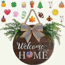 Seasonal Welcome Sign Front Door Porch Decor,