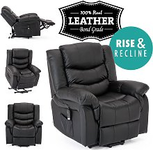 Seattle Black Electric Rise Leather Recliner