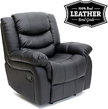 Seattle Black Leather Recliner Armchair Sofa Home