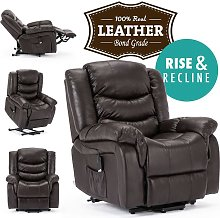 Seattle Brown Electric Rise Leather Recliner