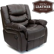 Seattle Brown Leather Recliner Armchair Sofa Home