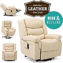 Seattle Cream Electric Rise Leather Recliner