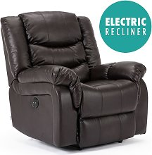 Seattle Electric Brown Leather Auto Recliner