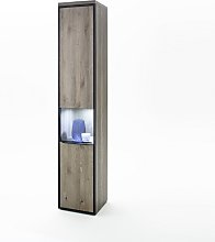 Seattle Narrow Right Display Cabinet In Oak Stone
