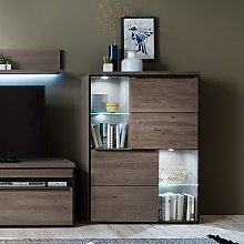 Seattle Wooden Display Cabinet In Oak And Stone
