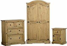 Seconique Corona Pine Bedroom Furniture 3 Piece