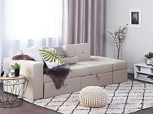 Sectional Sofa Bed Beige Storage Ottoman Pull Out