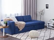 Sectional Sofa Bed Blue Storage Ottoman Pull Out