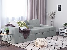 Sectional Sofa Bed Light Grey Storage Ottoman Pull