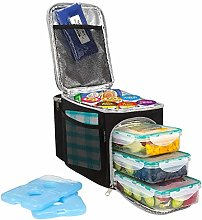 Secura Large Insulated Cooler Lunch Bag w/3 Meal