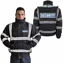 SECURITY Bomber Jacket Hi Vis Reflective Black