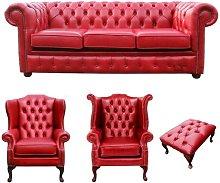 Sedalia Chesterfield 4 piece Leather Sofa Set