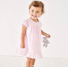 Seersucker Button-Back Dress, Pink Stripe, 3-6mths