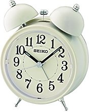 Seiko Bell Alarm Clock with Light and Snooze-Cream