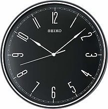 Seiko Black Plastic Wall Clock with Quiet Sweep