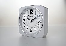 Seiko White Sweep Second Hand Square Alarm Clock