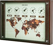 Seiko Wooden World Time Wall Clock