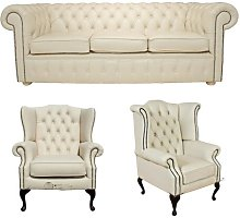Seiling Chesterfield 3 Piece Leather Sofa Set