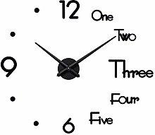 SEJU Large Modern 3D Stick on Wall clock, Silent