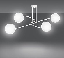 Selbi 4 ceiling light, spherical lampshades, white