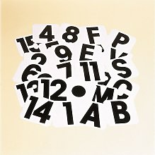 Self Adhesive Letter Labels (F) (White/Black) -