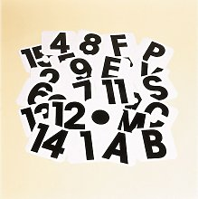 Self Adhesive Letter Labels (V) (White/Black) -